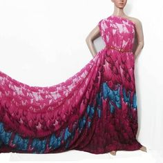 Yard Polyester Chiffon Fabric Azalea Tone w Blue Feather Printed PCN 10110 Blue Feather, Feather Print, Chiffon Fabric, Ball Gowns, Formal Dresses, Trending Outfits, Prints, Yard, Vintage