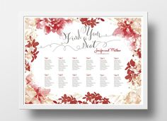 wedding seating chart poster diy editable powerpoint template floral red brown seating chart