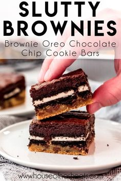Slutty Brownies are an over-the-top triple decker mashup of chocolate chip cookie dough, double stuff Oreos, and fudgy brownies all in one dessert! This is one dessert that is hard to resist, and you might feel guilty about it afterwards, but you can't help wanting more. #brownies #oreos #chocolatechipcookies #bars #best #homemade #fromscratch #easy #dessert Oreo Bars, Oreo Brownies, Chocolate Chip Cookie Bars, Oreos, Slutty Brownies Recipe Easy, Brownie Recipe Video, Brownie Recipes, Refrigerated Cookie Dough, Fall Baking