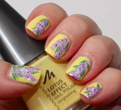 marias nail art and polish blog Lavender with yellow