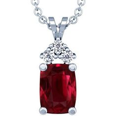 This beautiful pendant comes with perfectly matched 3 round diamonds prong set with total weight of 0.09cts around a rare untreated cushion cut ruby of 3.11ct. The Ruby has pigeon blood red color, FL eye clarity and excellent brilliance. This item is manufactured in USA.