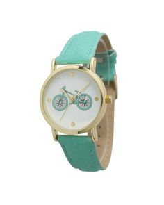 Mint Bicycle Print Leather Band Watch