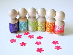 Rainbow Peg Dolls wearing Chiyogami paper for by crazeecrafteez, $15.00
