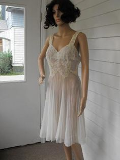 Vintage 50s Lace Pleated Lingerie Sheer Slip Nightgown Wedding Bridal