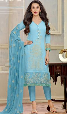 Sport a classy look like Karisma Kapoor as dressed in this aqua blue color embroidered georgette salwar suit. Beautified with lace, resham, stones and velvet patch work. #LatestSkyBluePantStyleSuit