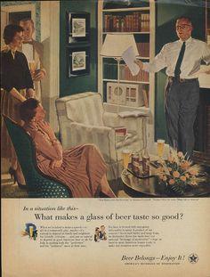 Dad Rehearses His Speech by Douglass Crockwell Beer Belongs ad 1956