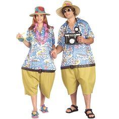 Couples Tacky Traveler Costumes. Travel the beaches of Florida or climb the Rockies mountains as an American tourist in these funny costumes for couples.