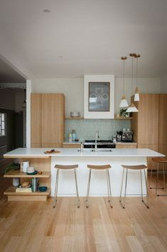 Inexpensive Kitchen remodel with island cooktop,Kitchen design layout options and Small kitchen renovation before and after. Home Kitchens, Kitchen Remodel, Kitchen Design, Mid Century Modern Kitchen Design, Home Decor Kitchen, Minimalist Kitchen, Mid Century Kitchen Decor, Scandinavian Kitchen Design, Modern Kitchen Design