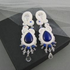 Bridal soutache earrings with jades, zirconias, pebbles and Swarovski crystalized...