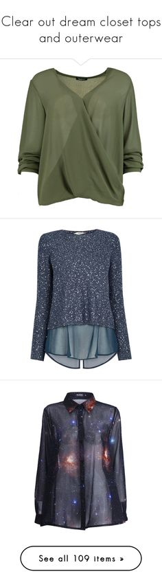 """""""Clear out dream closet tops and outerwear"""" by lrdart ❤ liked on Polyvore featuring tops, blouses, green crop top, bralette crop top, off shoulder crop top, off shoulder blouse, wrap blouse, blue, blue sparkly top and transparent top"""