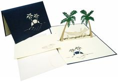 LIN - Pop Up Greeting Card, Hammock and palm trees, handmade, ( Pop Up 3d, Pop Up Karten, Retirement Cards, Birthday Greeting Cards, Gift Wrapping, Palm Trees, Hammock, Handmade, Store