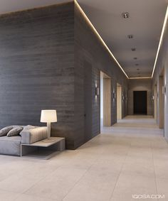 Sanca iluminação Modern house in the suburbs of Kiev on Behance House Ceiling Design, Ceiling Design Living Room, Ceiling Light Design, Home Ceiling, Ceiling Lights, Lobby Interior, Home Interior Design, Interior Ideas, Corridor Lighting