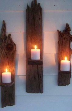Driftwood Candle Wall Sconces - a great DIY!