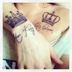 i really like the idea of him/her tattoos...love the script - Tattoos Are Great