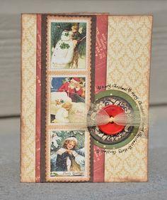 Graphic 45-Christmas Card, love the organza ribbon through the button