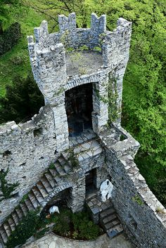 Tower of Castello di Vezio ~ ancient Roman fortress, located on Lake Como, Italy