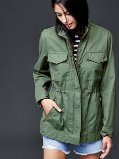 A green safari jacket will go with almost anything! Really makes a casual jean look pop