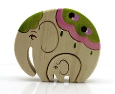 Wooden Puzzle Elephant Toy, Natural Organic Eco Friendly Waldorf Education Children Baby Kids Game