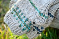 Woolen Arm Warmers in Natural Heather & Blue Green by awkward
