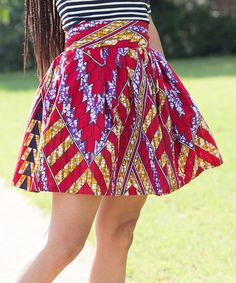 Another great find on #zulily! Red & Purple Zigzag A-Line Skirt #zulilyfinds