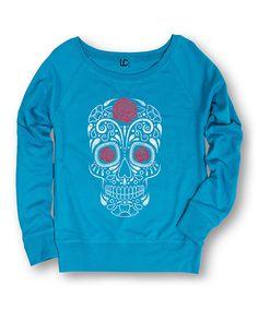 Loving this Cobalt & Rose Sugar Skull Slouchy Pullover on #zulily! #zulilyfinds