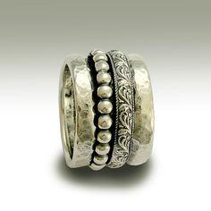 Sterling silver band, hommes et femmes, bande, large bande, anneau de fileurs, anneau de méditation de mariage unisex - la lune et le ciel R1740B