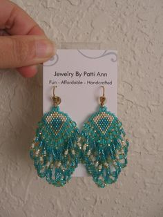 Seed Bead Beadwoven Earrings Teal COPYRIGHT 2014 by pattimacs