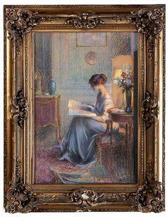 """Vente lundi 14 mars 2016 par Bérard, Péron et Girard à Lyon : Delphin ENJOLRAS (1857-1945). """"La lecture sous la lampe"""". Pastel sur carton, signé en bas à droite. 53 x 36 cm (à vue). Est. 3 000 - 3 500 euros."""