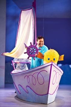 Harold (Don Darryl Rivera) sets sail in Children's Theatre Company's 2012 production of Harold and the Purple Crayon. Photo by Dan Norman. Theatre For Young Audiences, Children's Theatre, Purple Crayon, Toy Chest, Presents, Norman, Dan, Photos, Gifts