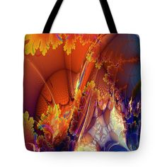 Sunshine Tote Bag featuring the digital art Spreading Sunshine Abstract Fractal…