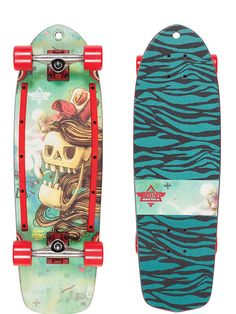 "Retro Skateboard Rebel Glider Pro MINICRUISER 22/"" in 2 COLORI NUOVO Longboard"