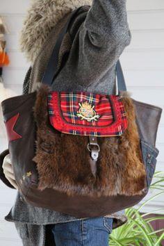 Мешок шить мех коричневый, машины коричневый, карман жан, звезда красная кожа, лоскут шерстяной свитер шотландский просиял : Сумки через амишей