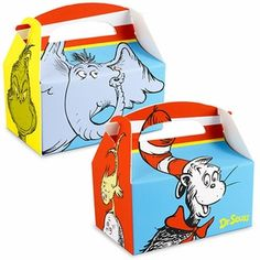Dr Seuss Classic Book Characters Party Treat Box 4 Pack