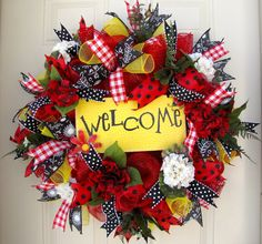 XXL Deco Mesh Spring Wreath Welcome Picnic by NicoleDCreations