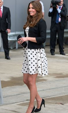 Like many mothers to be, Kate knows how to stretch her maternity pieces beyond a single wear. Case in point: This dotty Topshop dress, which the Duchess donned twice in 2013 – once to attend a wedding and for an official engagement (pictured).
