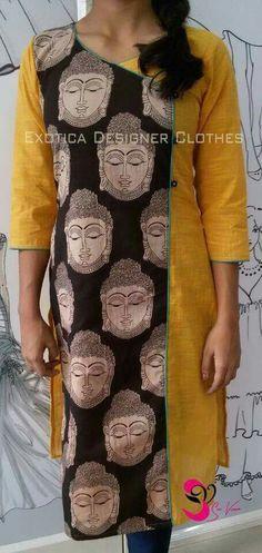 Kalamkari Tops, Kalamkari Designs, Churidar Neck Designs, Kalamkari Dresses, Kurta Designs Women, Salwar Designs, Saree Blouse Designs, Patiala Dress, Salwar Pattern