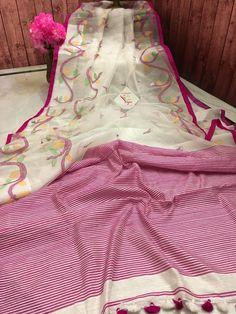 White and Pink Color Motka Resham Madhabilata Half a d Half Saree Dhakai Jamdani Saree, Khadi Saree, Silk Sarees, Saree Dress, Saree Blouse, Cotton Saree Designs, Midnight Blue Color, Indian Wedding Fashion, Traditional Silk Saree