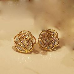 classic rose gold plated flower created diamond stud earring