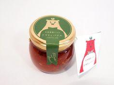 愛知県愛西市にあるトマト農家、石原農園さんが作るジャム「トマトとバジル」のパッケージ。 おしゃれな感じのクマがステキです ...