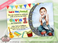 Music Inspired Birthday Guitar and Drums Invitation by DolcePapel, $15.00