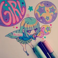 "Alguien ya vio el vídeo? *^* (el vídeo de la canción) Es hermoso  si aún no lo han visto, busquenlo como ""girl"" o ""daoko"" dicen que es la precuela de me!me!me!. ""Painted with bic marking, staedtler and copic ciao"" #mememe #teddyloid #daoko #girl #chibi #kawaii #daokogirl #stars #bubbles"