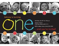 NEW: Rainbow Timeline 1st Birthday Invitation (Unisex) - Digital File on Etsy, $15.00