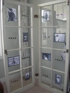 Recycled door frame ... Idea to use as a giant photo wall. Insert photos to fill glassed area and back with timber. Great room divider.