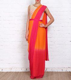 Pink & Orange Georgette Saree Gown