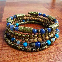 Blue Stone Memory Wire Bracelet, Beaded Bangle, Lapis Lazuli, Howlite, Jasper, Antique Brass, Boho, Gypsy, Wrap Around