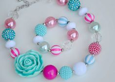 Pink and Aqua Chunky Necklace & Bracelet Jewelry Set, Chunky Bead Necklace, Bubblegum Necklace, Gumball Necklace, Girl Jewelry, Baby Jewelry on Etsy, $9.50