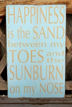 "Summer Sign - "" Happiness is the Sand Between My Toes"" - Subway art sign. $45.00, via Etsy."