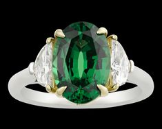 Tsavorite Ring, 3.37 Carats~ Prized for its rarity, luminosity and durability, the tsavorite garnet is truly a show-stopper of a gemstone. Weighing 3.37 carats, this example is among the best of its kind, exhibiting the perfect intense emerald green hue found only in the finest of these gems. ~M.S. Rau Garnet And Diamond Ring, Rare Gemstones, Alexandrite, Rarity, Emerald Green, Peridot, Hue, 18k Gold, Rings