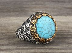 925 K Sterling Silver Man Ring  Blue Turquoise Gemstone 11,5 US Size…