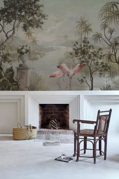 Paisaje con Flamencos Mural Wallpaper in Nuevo Mundo from Coordonne Anniversary by Carol Moreno has flamingos leaving a river into mountains. Flamingo Wallpaper, Wall Wallpaper, Scenery Wallpaper, Paint And Paper Library, Green Landscape, Inspiration Wall, Interior Inspiration, 40th Anniversary, Fireplace Design